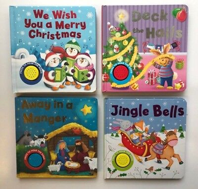 Set Of 4 Sound Books Christmas Manger Jingle Bells Halls Ages 0 Months+ Year New