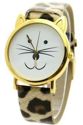 Lovely Cat Face Shape Dial Alloy Faux Leather Watch Leopard Gold S2V8