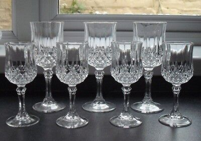 cristal d'arques, Longchamp, cut glass crystal sherry glasses