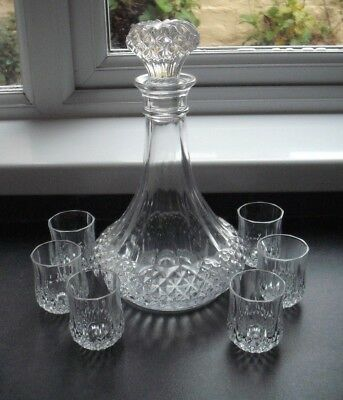 Cristal d'Arques, Longchamp decanter and 6 shot glasses