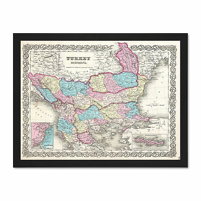 1855 Colton Map Turkey Europe Macedonia And Balkans Picture Large Framed Print