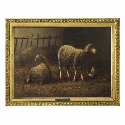 Charles Emile Jacque French Antique Oil Painting of Sheep in Barn, 19th Century