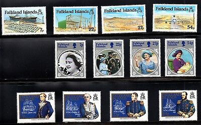 Falkland Islands 5 Unmounted Mint Sets 1985-86 - Ships, Seashells , Whales