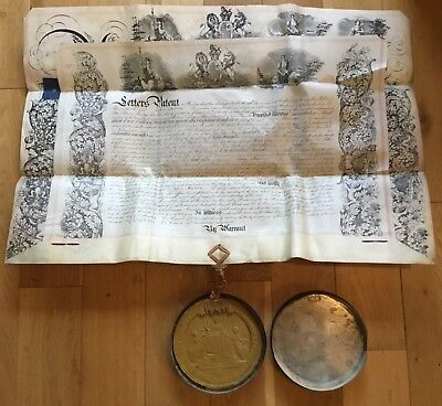 1868 Vellum Queen Victoria Patent Document Wax Great Seal The Realm Metal Case
