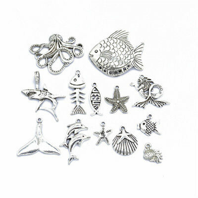 13pcs/lot Antique Silver Ocean Sea Fish/Shell/Octopus/Whale Tail Charms Pendants