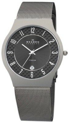 SKAGEN 233XLTTMC Mens Ultra Slim TITANIUM Watch with CARBON FIBER Dial NEW
