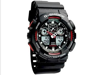 CASIO G-SHOCK Black/RED GA-100-1A4ER Mens Combi Watch *NEW*  gshock GA1001A4ER