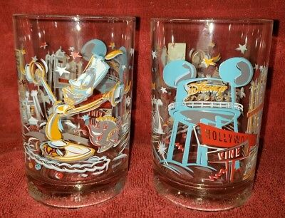 New! Pair of Vintage McDonald's Walt Disney World 25th Anniversary Glass Lumière
