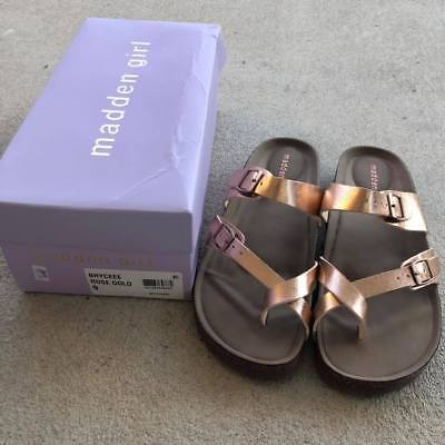 a95e5981628f NEW - Rose Gold Madden Girl Womens Toe Ring Faux Leather Cross Sandals Size  9