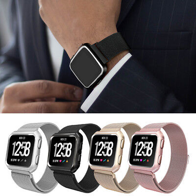 For Fitbit Versa Milanese Magnetic Loop Steel Band Strap +Protective Cover Case