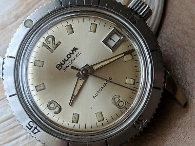 Vintage 1969 Bulova Snorkel Diver Watch w/Champagne Dial,Warm Patina,All SS Case