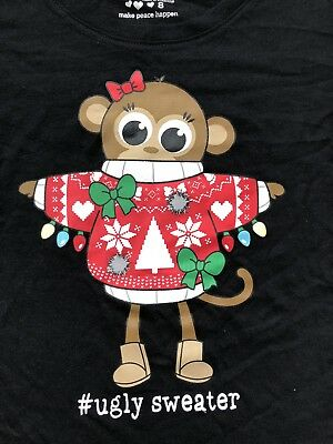 Justice Girls Black Ugly Christmas Monkey Sweater Shirt Size 8 10 12 14 or 18