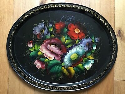 "Large 20"" Vintage Hand Painted Black Metal Tray USSR Zhostovo Tole Bargeware 2"