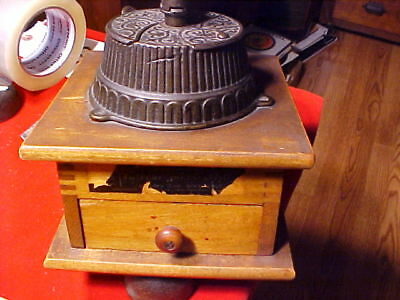 Antique International Coffee Grinder Cast Iron Handle Wood Dovetailed Case 1877
