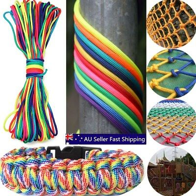 RainBow Color 550 Paracord Rope 7 strand Parachute Cord 100ft/300ft For Camping
