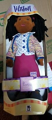 """Lilydoll Portia African American Toy 18"""" Cloth Classic Play Doll new in box"""