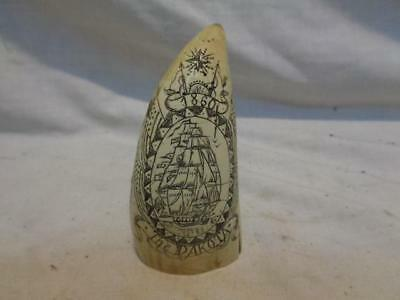 "FAUX Scrimshaw 3 3/4"" Whale Tooth REPLICA The Dakota 1860 Nantucket"