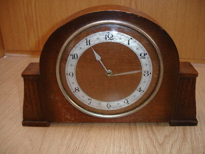 Vintage Wooden Mantle Clock 1940's Made in France