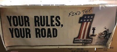 "Harley-Davidson ""Your Rules,Your Road"" 2-Sided Large Vinyl Banner 3'X 8'! VGC  C"