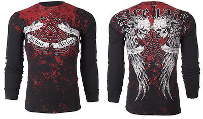 ARCHAIC by AFFLICTION Mens LONG SLEEVE THERMAL Shirt DOUBLE DEATH Biker UFC $58