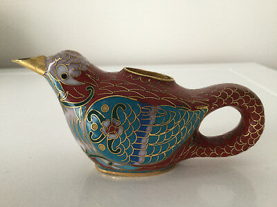 Pretty And Very Collectible Chinese Cloisonne Bird Shaped Jug