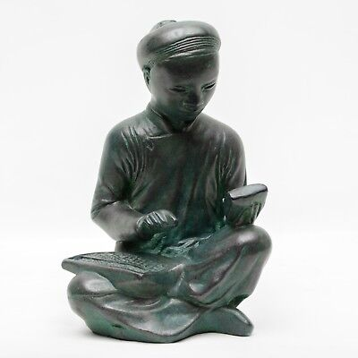 Vintage Austin Sculpture 1961 Scribe Chinese Man Asian Bronze Looking