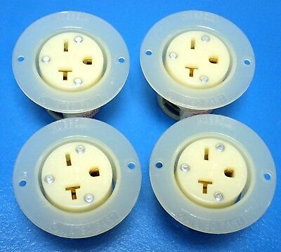 HUBBELL HBL2326 TWIST-LOCK FLANGED RECEPTACLE INSULGRIP 20A 250V 2 POLE, 4pcs