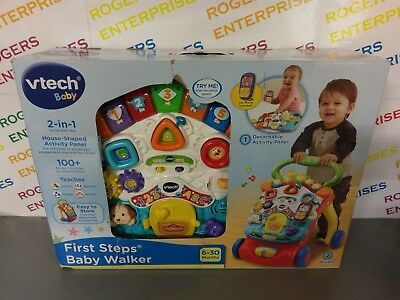 Vtech 2-in-1 First Steps baby Walker & Activity Panel Lights/Sound- NEW box Poor