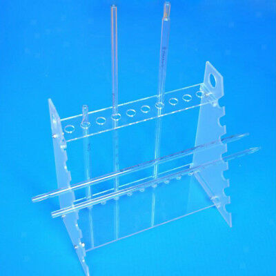 Clear Plastic Pipet Stand Rack Holder for 17 Pipettes, Horizontal Placement