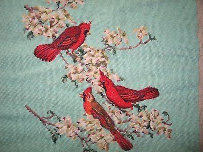 Beautiful Antique Needlepoint Tapestry Petit point Chair Cover Pillow Cardinal