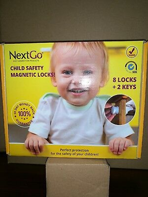 New NextGo ChildProof Magnetic Cabinet Locks 10-Piece Set Kiddie Safe Door Locks