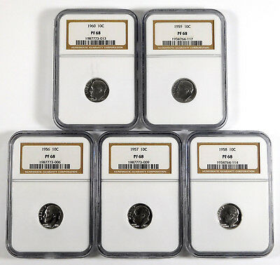 1956 - 1960 Roosevelt Dime Proof Lot - NGC PF 68