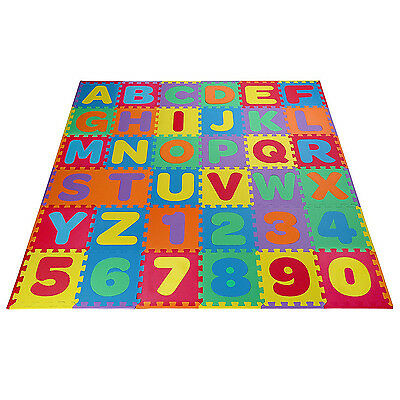Kids Foam Floor Puzzle Play Mat Gym Toy 36 Pcs ABC Numbers Baby Toddler Playmat