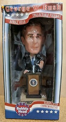George W Bush Commemorative Hand Painted Bobble Head Collectible, Used