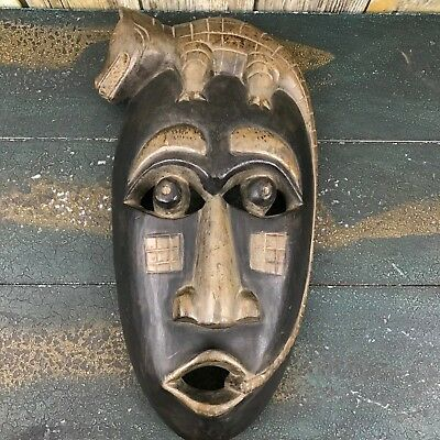 Indonesian Crocodile Ritual Native Tribal Hand Carved Wooden Mask Wall Art