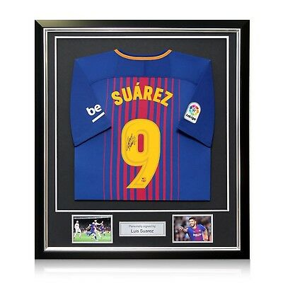 Luis Suarez Signed Barcelona 2017-18 Soccer Jersey In Deluxe Frame 58499e1c6