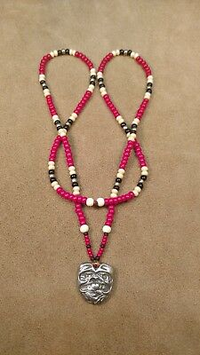 Pewter Beaver Totem Pendant and Trade Bead Necklace, NW Style, Mountain Man