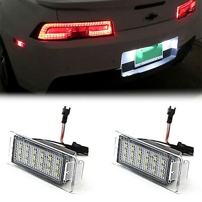 10-11-12-13 Chevy Camaro White LED Rear License Plate Light Bulb Lens Lamp Pair