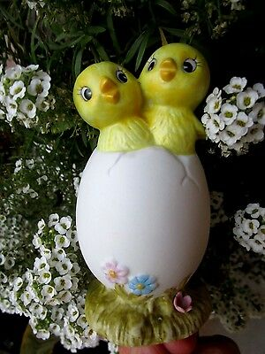Vintage Bisque Easter Chicks Hatching Out Of Egg Figurine