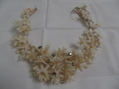 Vintage 1920' / 40's Cream Wax Flower Bridal Head Dress~ Decorative Stones