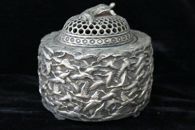 Handwork Collectable Miao Silver Carve Whole Body Swan Elegant Incense Burner