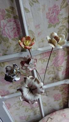 5 Divine Antique French Timeworn Louis Xv Sevres Style Porcelain Flowers & Stem