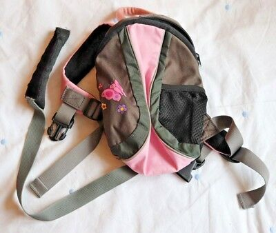 LittleLife Pink and Grey with Butterfly Pattern Back Pack Child's Safety Harness