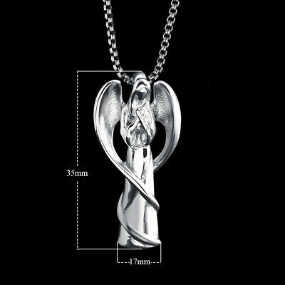 Silver Angel Cremation Ashes Necklace Memorial Jewellery Keepsake Urn Pendant