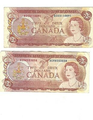 1974 Bank of Canada Ottawa (TWO) -  $2 Dollar Canadian Bill Notes- Circulated