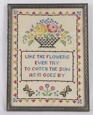 ANTIQUE/VINTAGE NEEDLEWORK SAMPLER- Multi-color-Verse-WOOD FRAME w/Glass-USA!