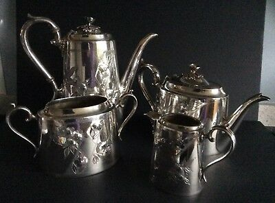 James Deakin & Sons Silver Plated Teapot, Coffee pot, Sugar Bowl & Milk Jug.