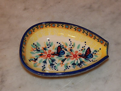 Polish Pottery Kitchen Spoon Rest! UNIKAT Signature Butterfly Summer Pattern!