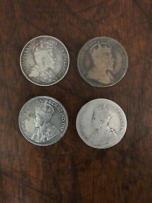 Lot of 4 Early Date Canada Quarters (2) 1910 and (2) 1918