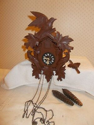 Vintage Cuckoo Clock Made in Germany Wood House, Plastic Trim for Parts Repair